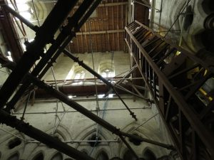 Inside the tower of Salisbury Cathedral