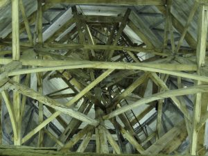 Looking up the spire of Salisbury Cathedral