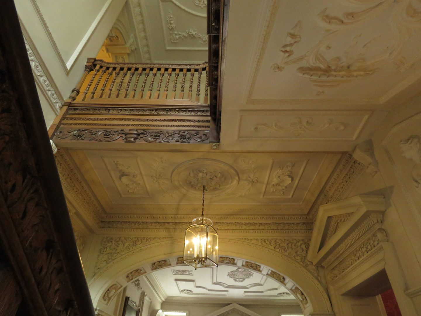 Elaborate plasterwork in the 18th century Mompesson House, Salisbury