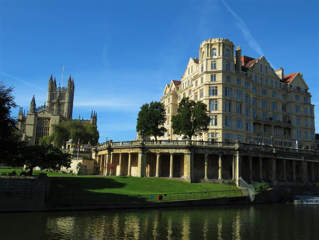 View of Bath Abbey and the former Empire Hotel, Bath, England