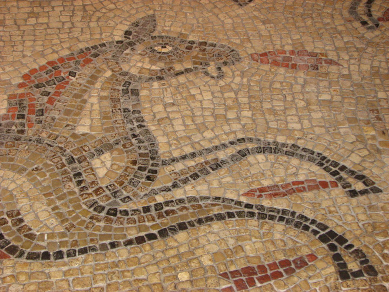 Mosaic of a horse at the Roman Baths, Bath, England