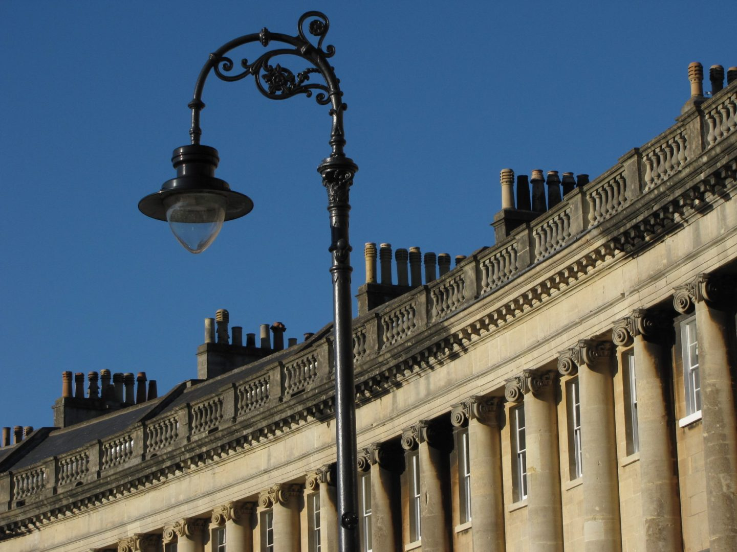 Detail of a streetlight at the Royal Crescent, Bath, England
