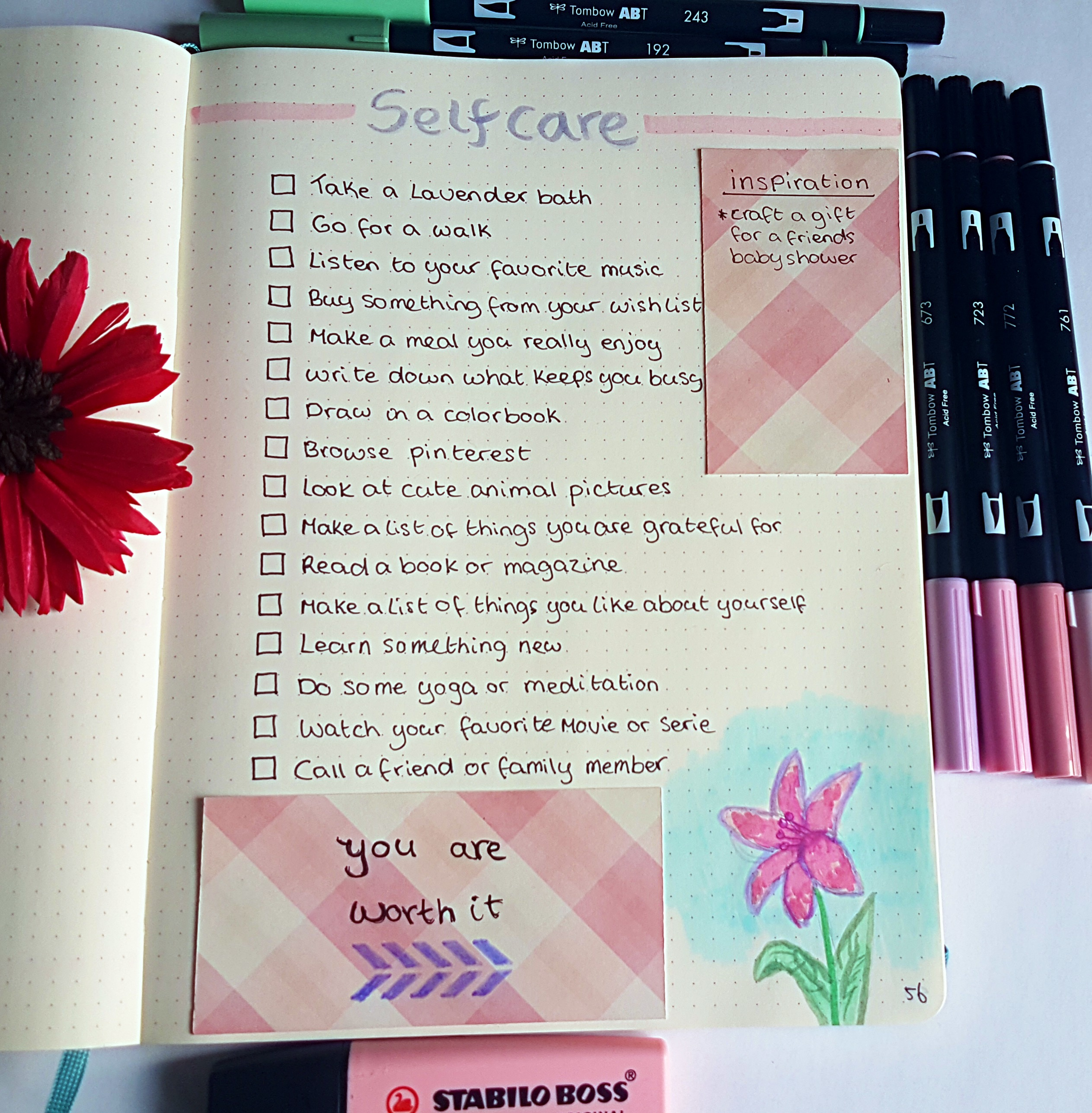 Bullet journal self-care page miss mental | Work on a better you by starting a list of things you can do when you need some much-needed self-care. Works like a charm against stress, anxiety, and depression. This bujo list is easy to make and very good as the first step to self-growth.  #bujo #bulletjournal #planner #selfcare #selfgrowth #stress #anxiety #burnout