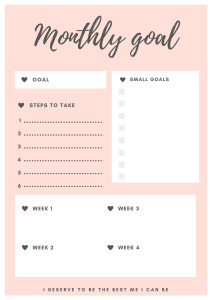 monthly goal planner miss mental free printable