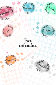 Free calendar, free printable, print, watercolor, freebie, motivation, affirmation, empower this planner can do it all. Download for free and print as many times as you like by miss mental #free #print #printable #calendar #planner #motivation