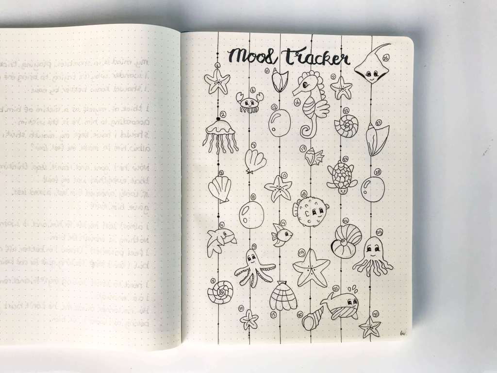 Mood tracker august underwater sea creature theme - shell, crab, seahorse, rog, star, jellyfish drawings - plan with me bullet journal community. Be more organized and track your mood this month! improve your mental health and well being.