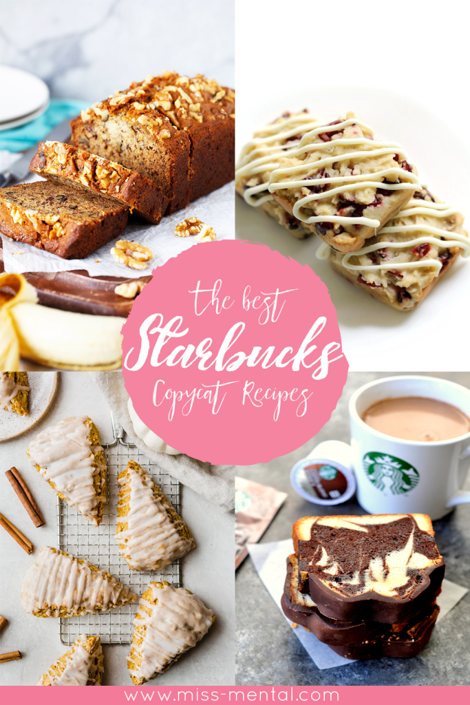 20 copycat starbucks recipes you can make from home. Starbucks menu drinks and baking goods. Starbucks pumpkin scones, cranberry bliss bars, marble pound cake, frappuccino, bananabread and more #starbucks #recipes #bake #coffee