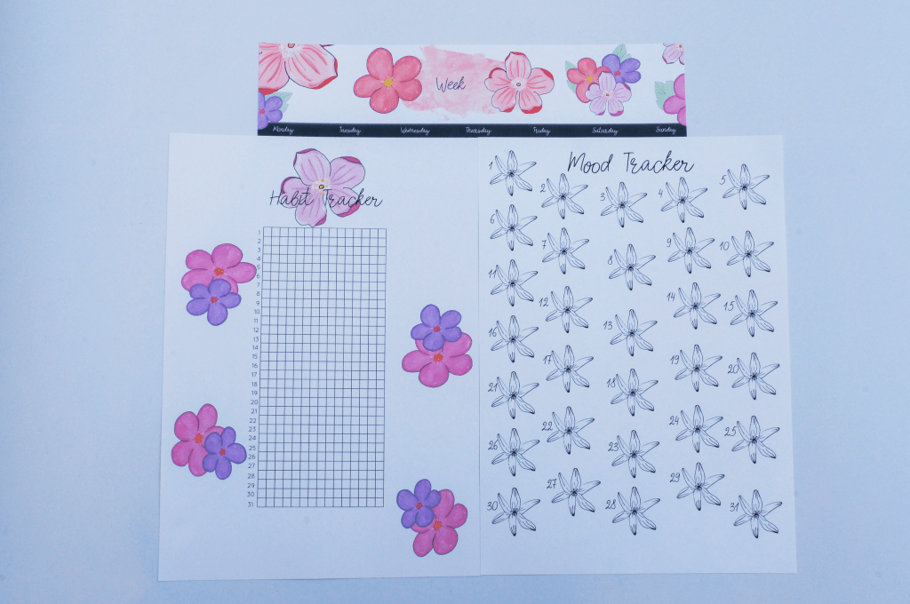 Bullet journal flower theme collage | cute bujo planners | printables | printable planners easy to download and use to make your life easier, be more organized with this habit tracker, mood tracker and weekly planner | Show me your planner | plant with me #bulletjournal #bujo #floral