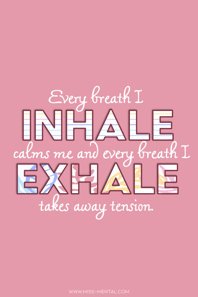 10 anxiety affirmations with free phone wallpapers | Every breath I inhale calms me and every breath I exhale takes away tension. Calm your nervous and anxious thoughts with this affirmation. Pink and pastel colors. #mentalhealth #positivity #positivevibes