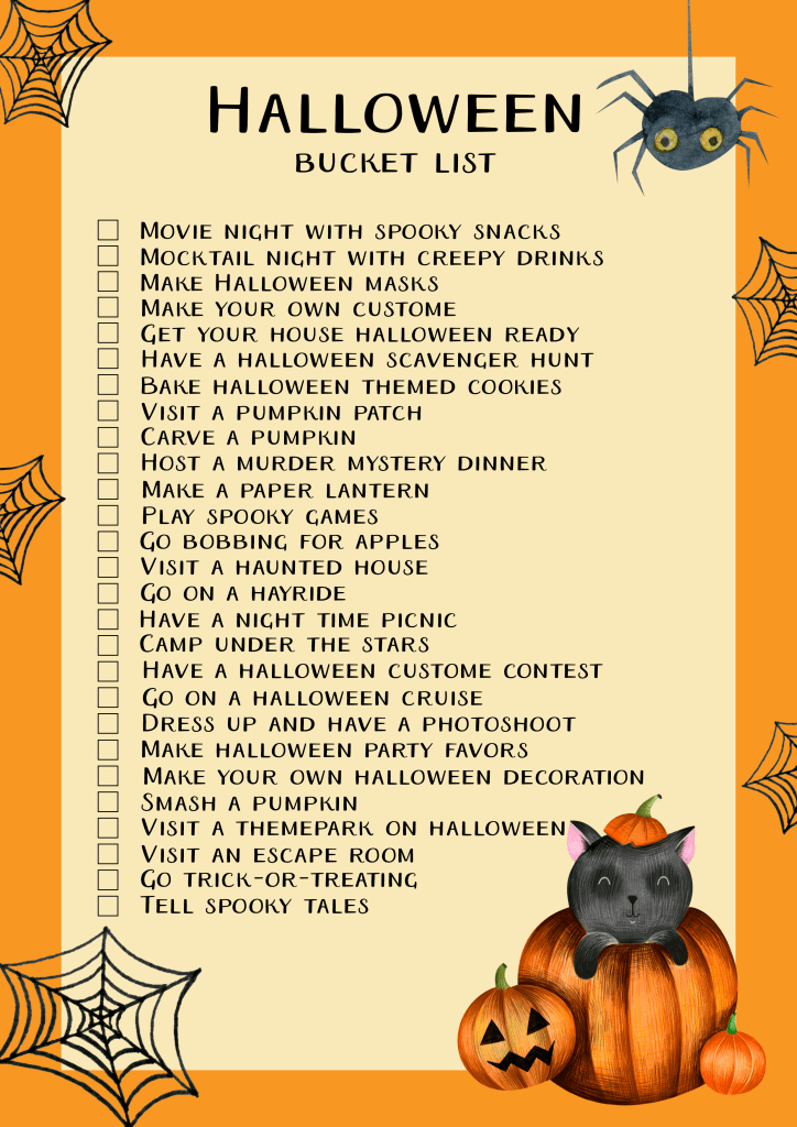 Free printable Halloween bucket list | 27 fun Halloween ideas for families. Activitis for toddlers, teens, college students and adults. Hayride, pumpkin carving, Halloween treats DIY, Halloween decoration and more.