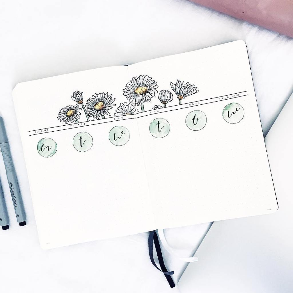 Minimalist bullet journal weekly spread with daisy flowers.