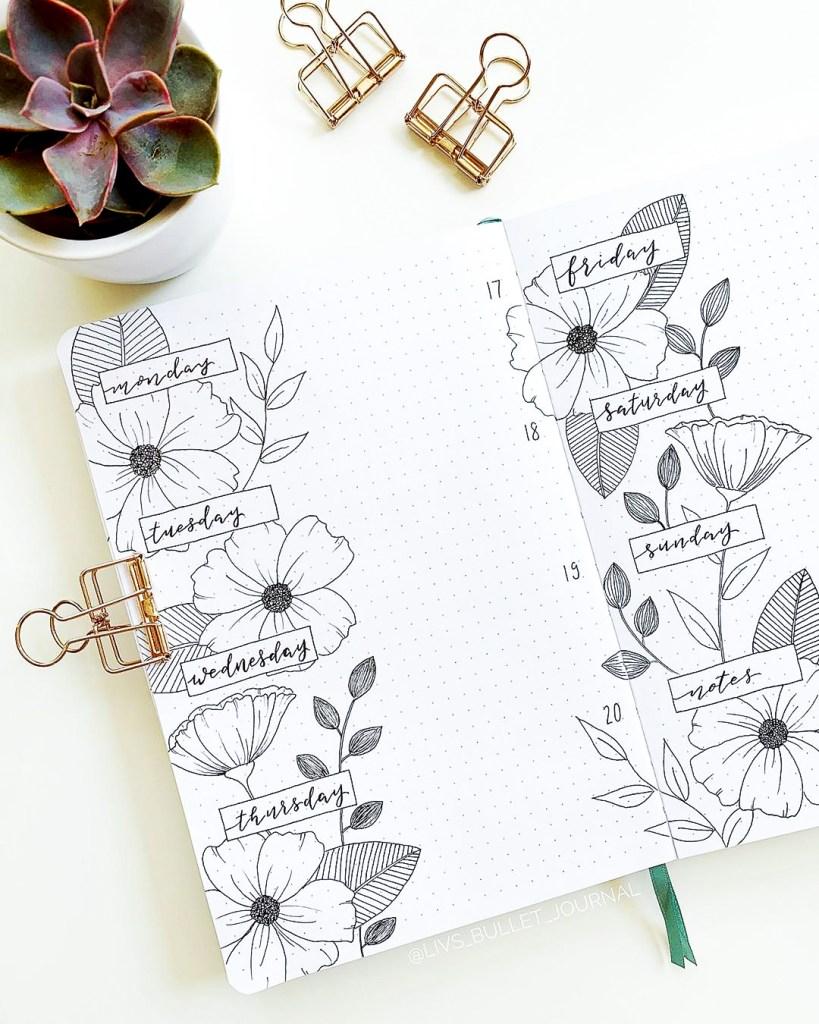 flowery weekly bujo spread minimalistic
