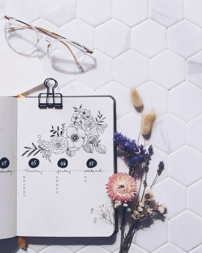 simple black and white minimalist bullet journal spread flowers