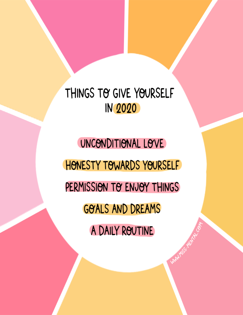 Things to give yourself in 2020 | Make 2020 a good year full of self-love, self-care, goals and more. Positive quote illustration