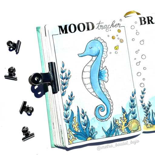 seahorse mood tracker. Ocean theme bullet journal idea | ©metro_boulet_bujo