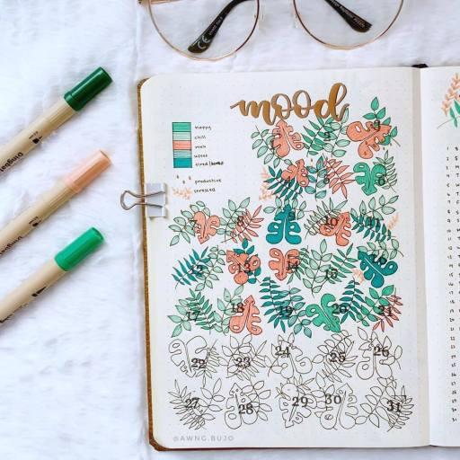 tropical leaves mood tracker bullet journal