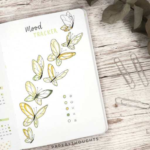 butterfly mood tracker bullet journal idea made by paperythoughts on insta