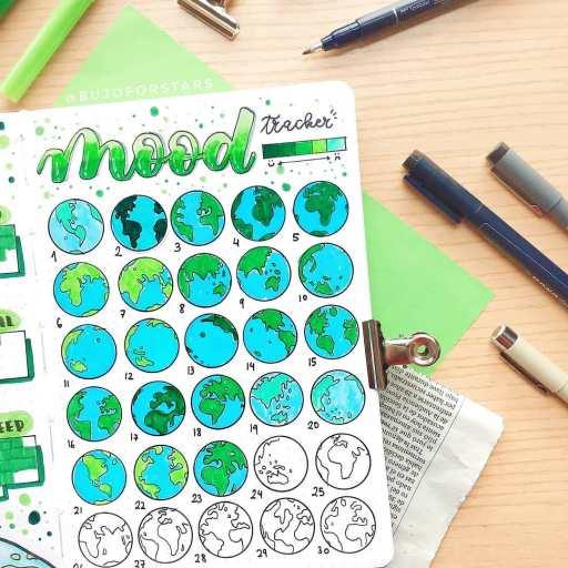 mood tracker earth bullet journal spread. Earth hour design