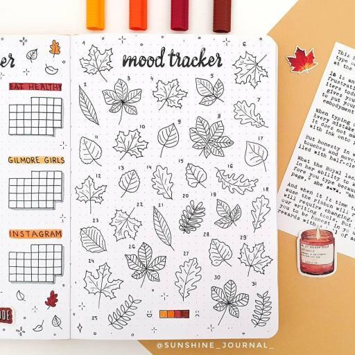 leaves mood tracker inspiration bullet journal ideas
