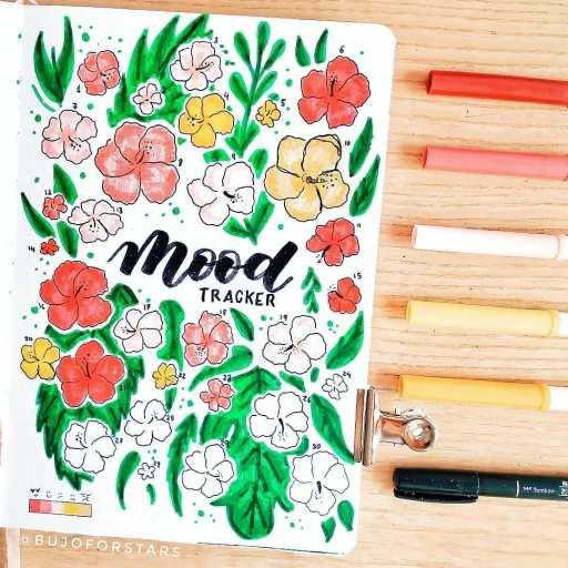 colorful floral mood tracker design. Bullet journal spread inspiration