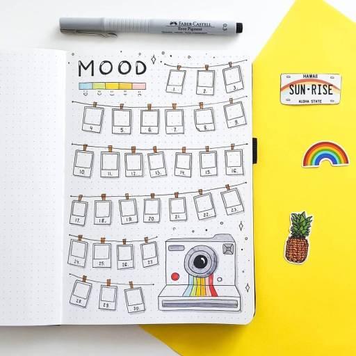 camera poloraid mood tracker inspiration. Bullet journal idea