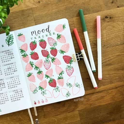 strawberry mood tracker bullet journal idea by teanbujo
