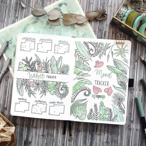tropical leaves bullet journal idea mood spread made by thuys.bujo