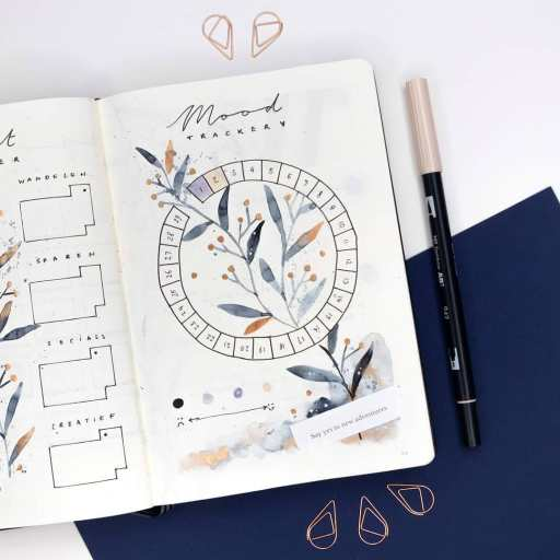watercolor mood trackers ideas floral theme bujo lovers