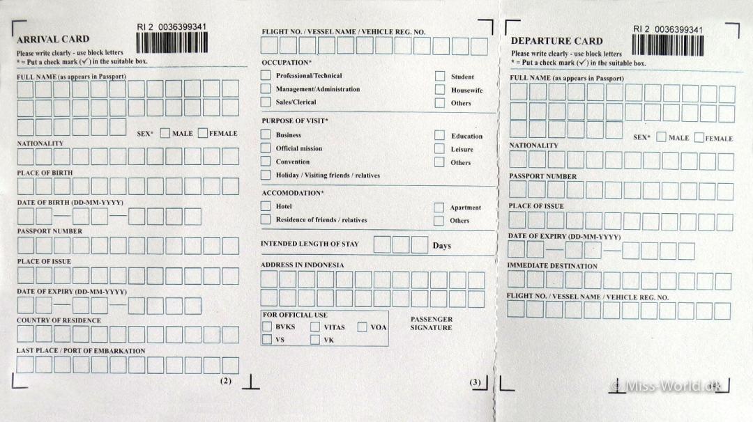 bali arrival card
