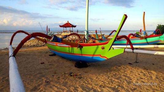 Colorful fisher boat at the beach in Sanur Beach Bali