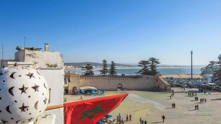 City Walls Essaouira Morocco. A view from Restaurant Taros to the main square a the beach