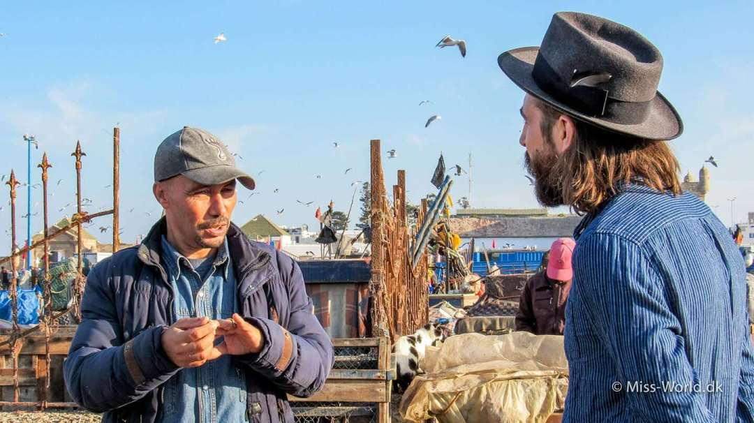 Essaouira Fishing Port. Anthony Bogdan is having a chat with a local fisherman