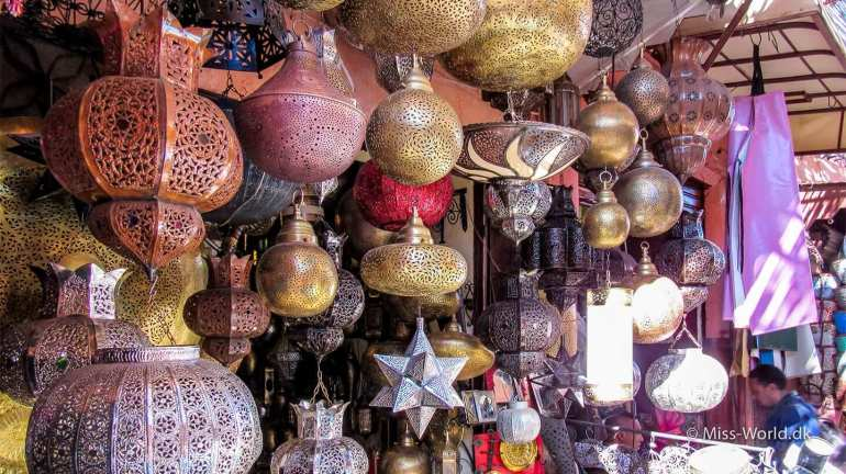 Moroccan lamps in a lamp shop in the medina