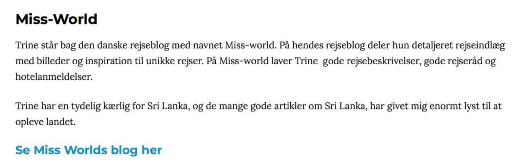 Her er hvad Tea Tougaard skriver om Miss World