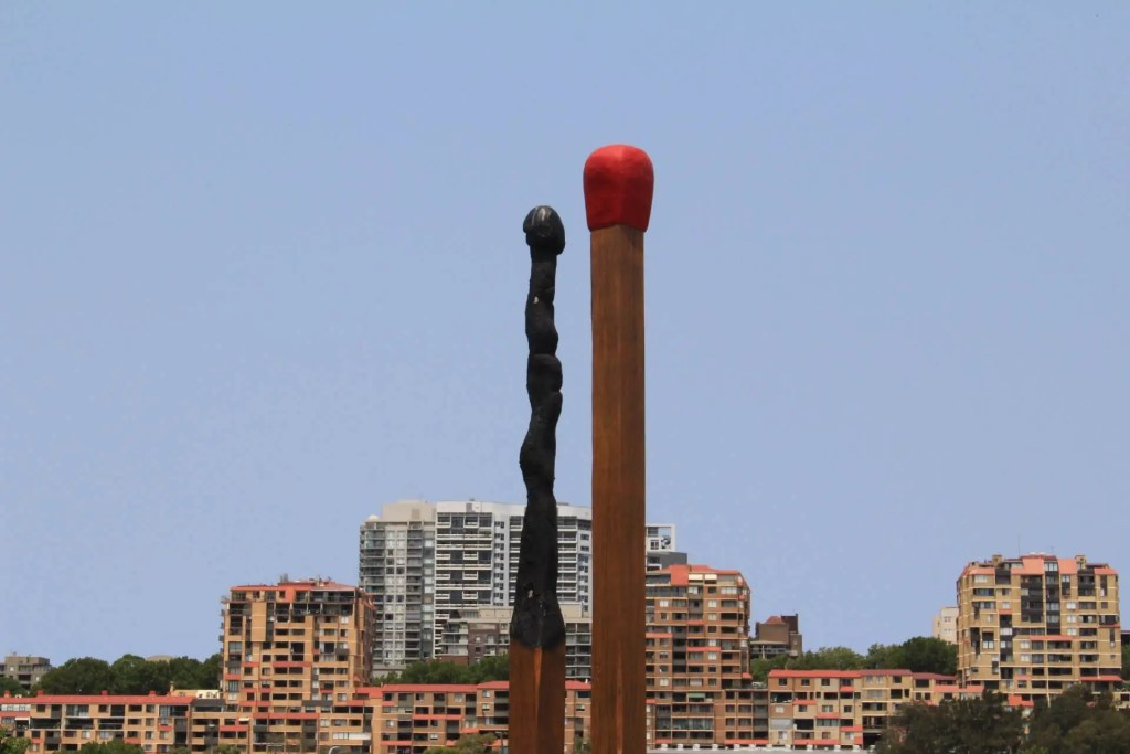 "Australian artist Brett Whiteley's ""Almost Once"" sculpture in Sydney is better known as the ""Big Matchsticks"""