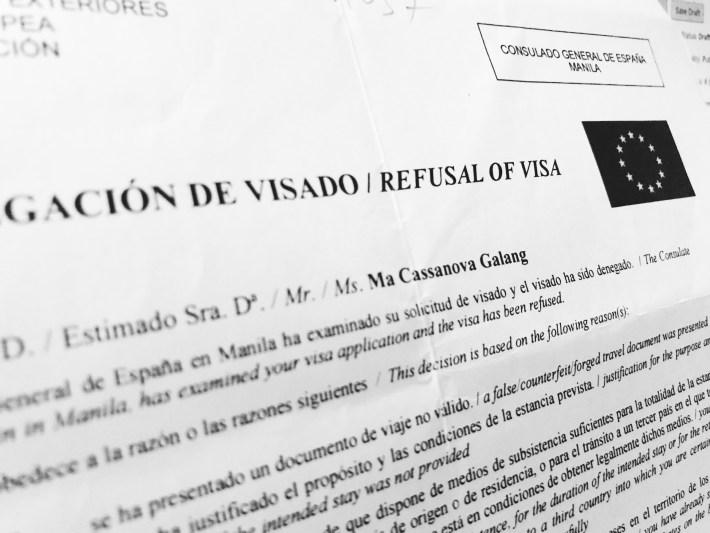 Schengen Visa Refusal Letter