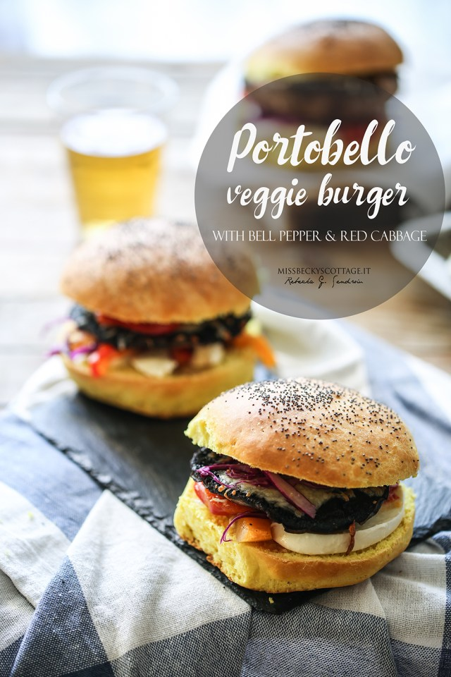 portobello burger bell pepper and red cabbage