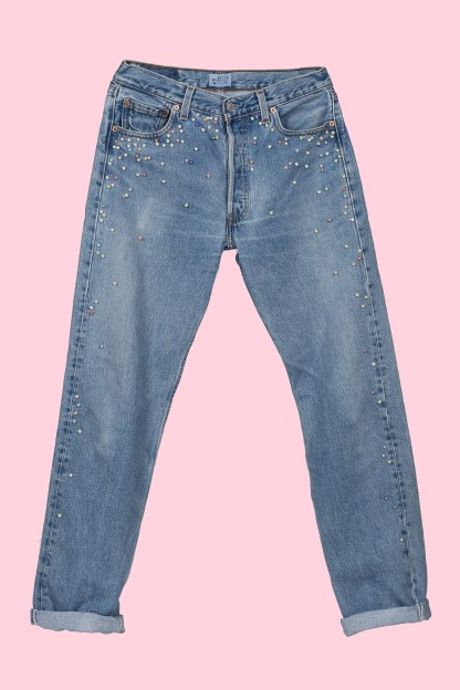 vintage levi levis 501 jeans upcycle embellished pearl pearls
