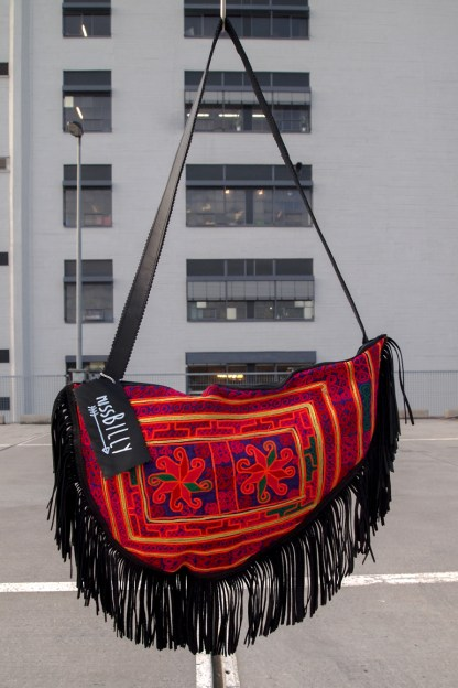 miss billy bag recycled leather black fringes embellish color ethnic kuchi tribal punk