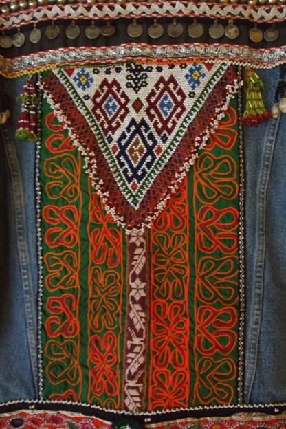 vintage levi's levis denim orange punk embellishment upcylcle upcycled bohemian boho bohopunk antique beads