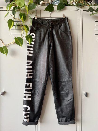 handpainted vintage leather pants