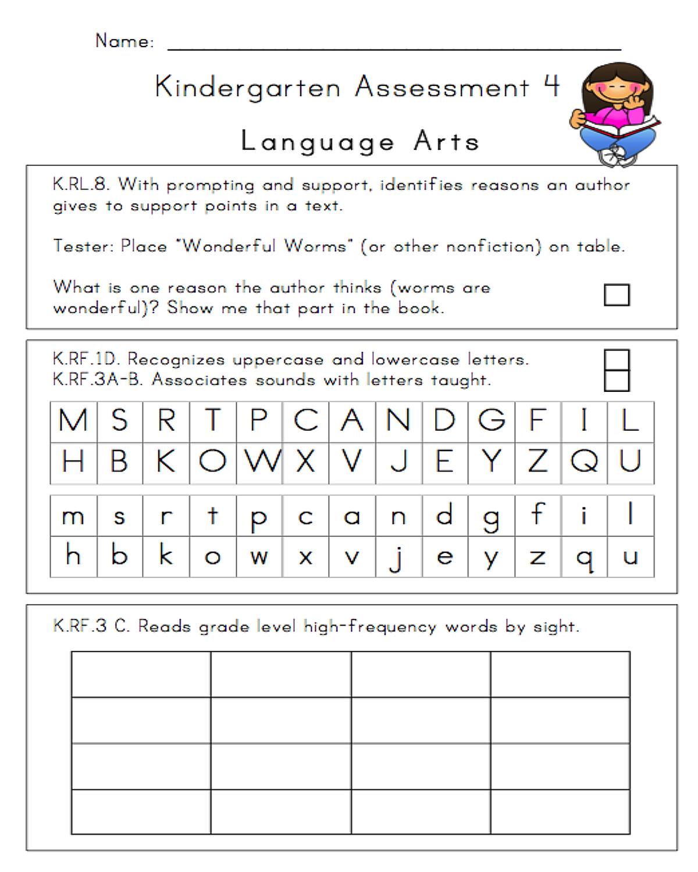 24 Page Illustrated Kindergarten Assessment