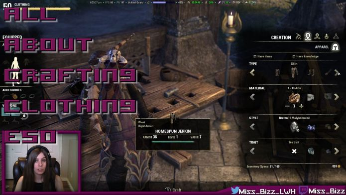 Crafting clothing in ESO