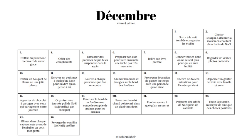Décembre, vivre & aimer | Calendrier de l'avent à imprimer - Miss Blemish
