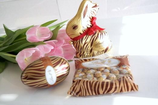 Geschenkidee Ostern Osternest Lindt Schokolade Osterhase Eier Tigerprint