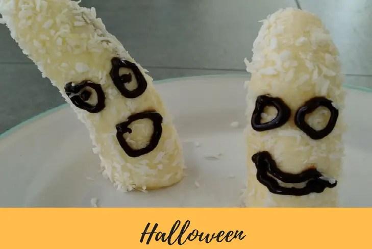 Bananen Gespenst aus Kokos zu Halloween dyi selbstgemacht basteln kinder