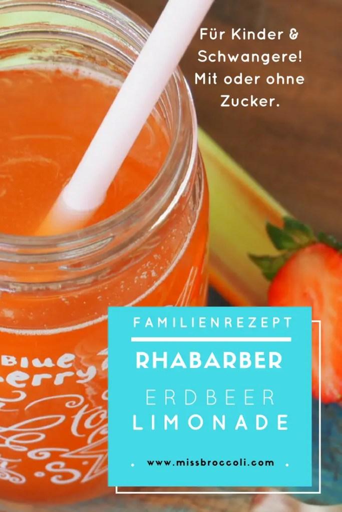 rhabarber, erdbeer, limonade, rezept, foodblog, kinder, schwangere, stillend, ohne zucker, zuckerfrei, sommer, getränk