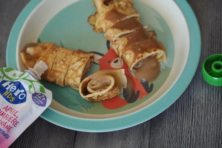 pfannkuchen omeletten apfelmus kinder rezept einfach schnell mittagessen, kinder, familie, fingerfood, blw babyled weaning