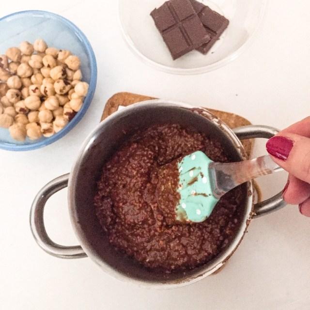 Baci di cioccolato in preparazione