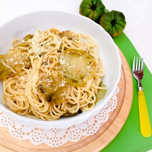 Spaghetti al pomodoro verde_pasta alla Mike